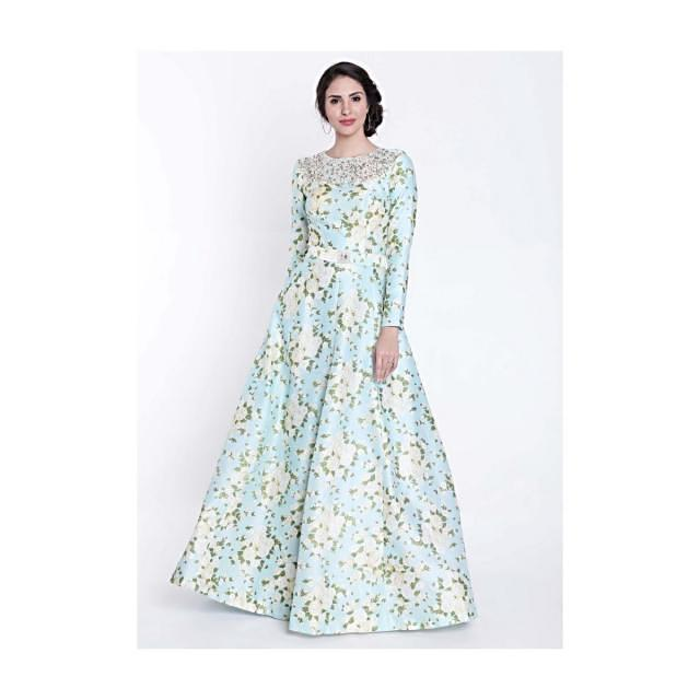 Turq blue printed suit featuring with embroidered neckline only on Kalki