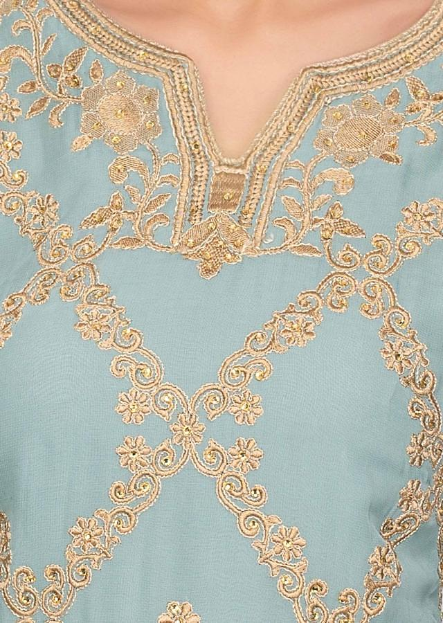 Turq Blue Palazzo Suit Embroidered In Resham And Kundan Online - Kalki Fashion