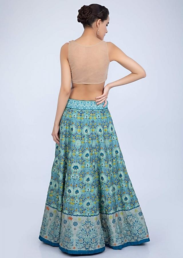 Turq Blue Lehenga In Shaded Cotton Silk With Patola Print And Green Organza Dupatta Online - Kalki Fashion