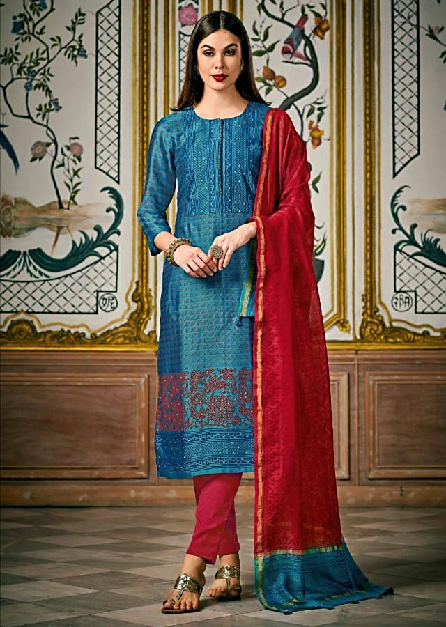 Turq Blue Straight Suit In Silk Adorn In Print And Sequin Highlighted Placket Online - Kalki Fashion