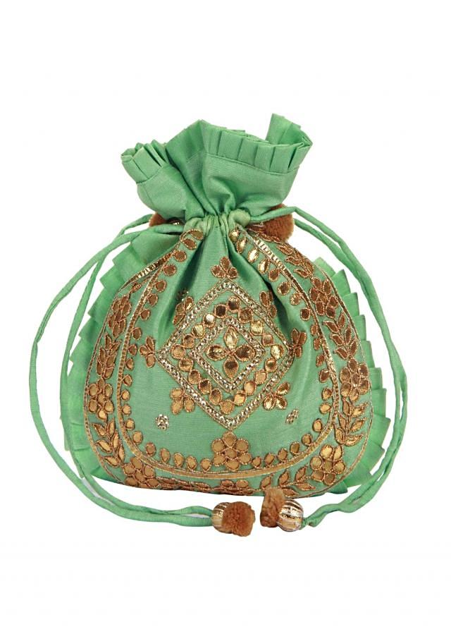Turq gotta patch Embroidered Potli Bag only on Kalki