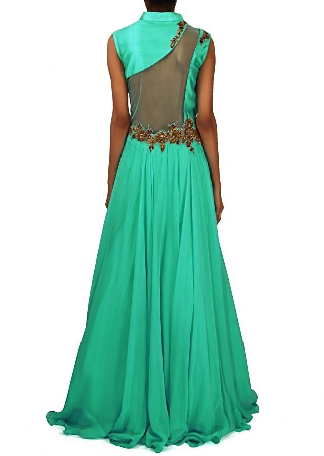Turq gown with embellished yoke and waist line only on Kalki