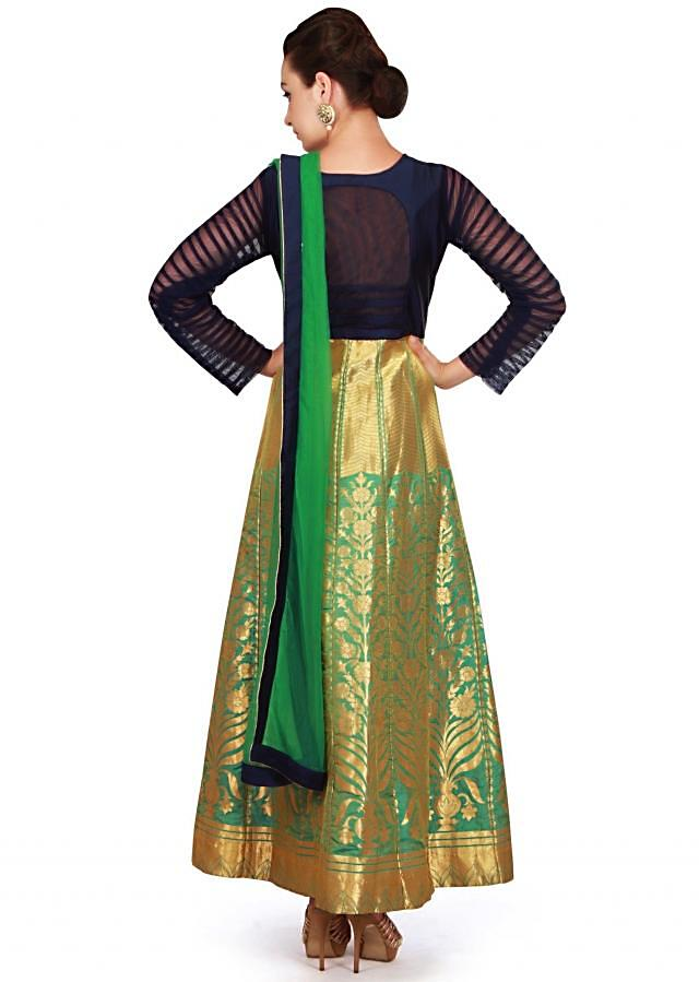 Turq green anarkali suit in brocade with embroidered armhole only on Kalki