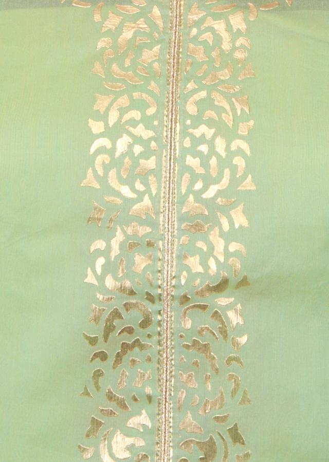 Turq green semi stitched suit featuring in embossed foil print