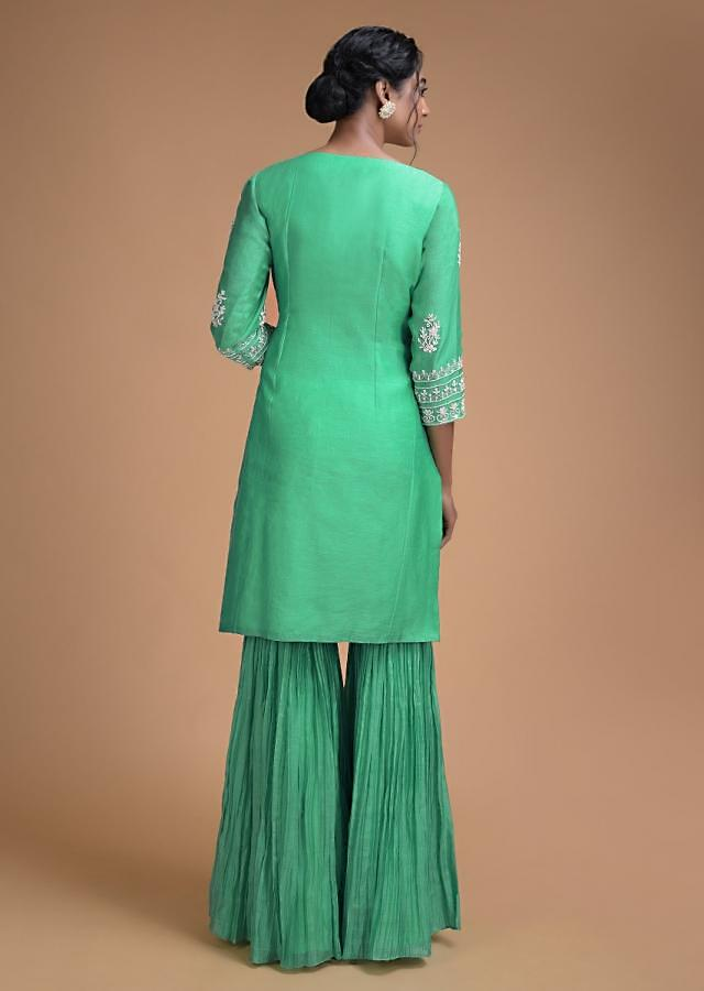 Turq Green Sharara Suit In Cotton Adorned With Cut Dana And Sequins Work In Floral Buttis Online - Kalki Fashion
