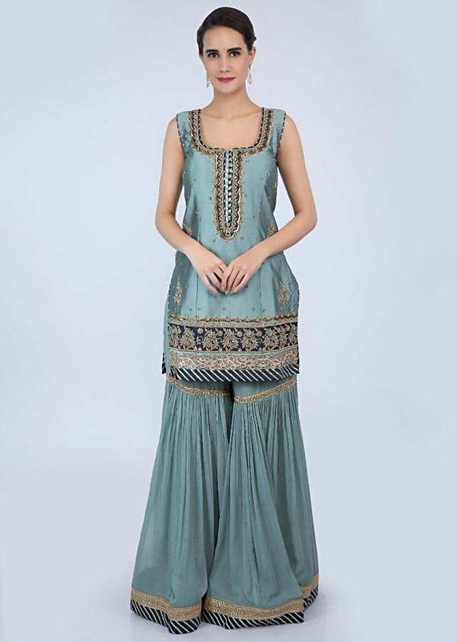 Turq green silk sharara suit set in floral embroidery and butti only on Kalki