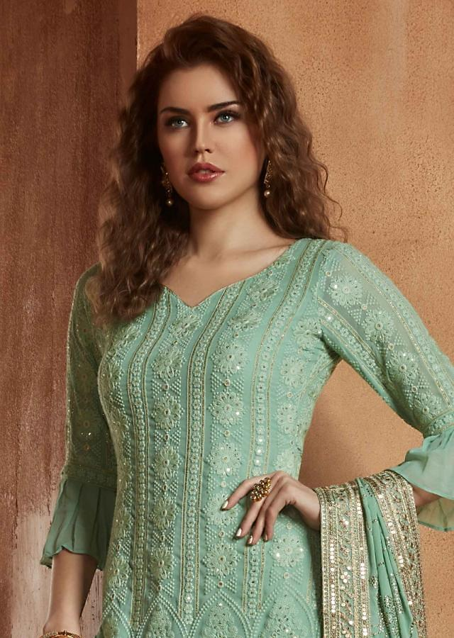 Turq green straight palazzo  suit in georgette adorn in thread and sequin embroidery