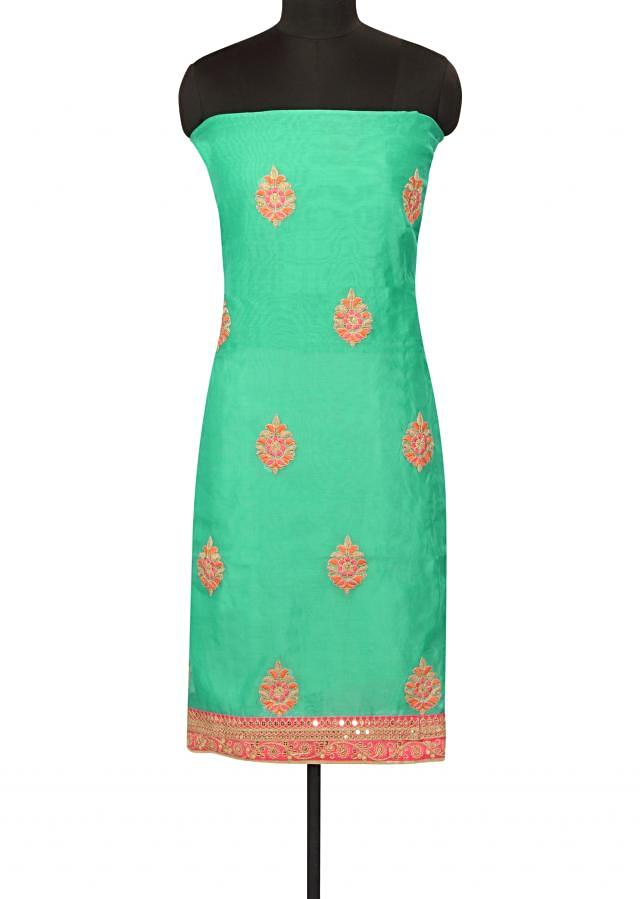 Turq green unstitched suit resham and zari butti only on Kalki
