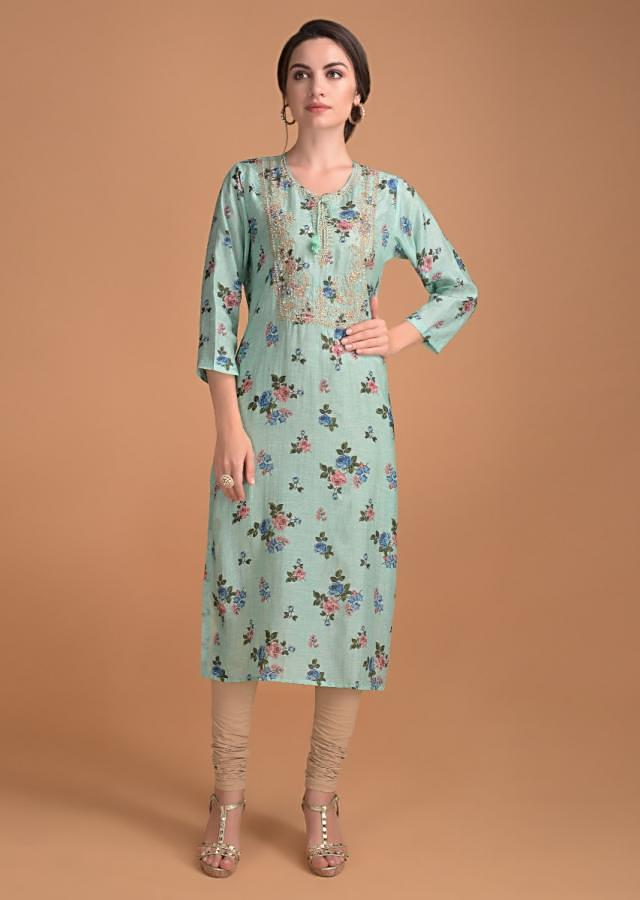 Turq Kurti In Floral Print With Embroidered Bodice Online - Kalki Fashion