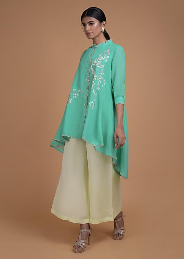 Turq Palazzo Suit In Linen With High Low Cut Top And Thread Embroidered Floral Pattern Online - Kalki Fashion