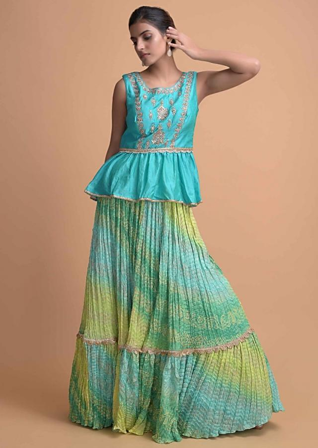 Turq Peplum Top And A Crushed Shaded Bandhani Skirt With Tiered Hemline Online - Kalki Fashion