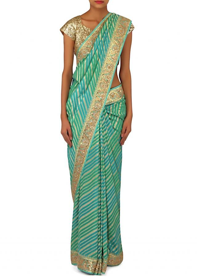 Turq saree featuring with brocade pallav only on Kalki
