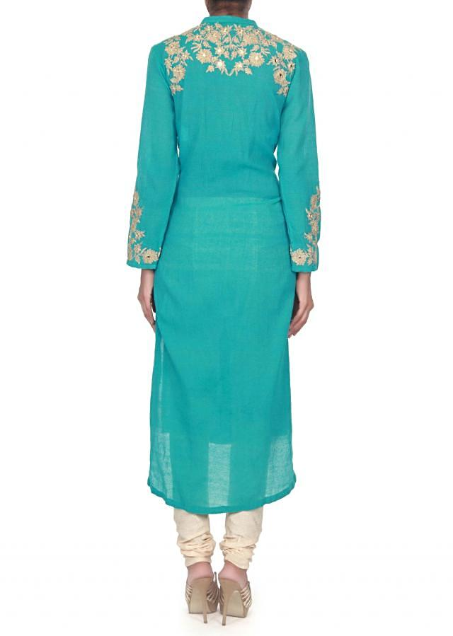 Turq straight suit embellished in zari and mirror embroidery only on Kalki