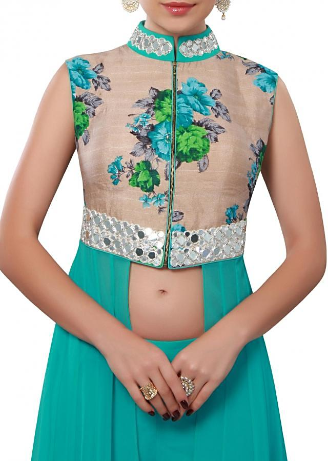 Turq suit enhanced in mirror and floral print only on Kalki