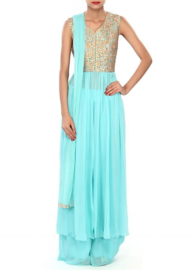 Turq suit featuring with embellished bodice only on Kalki