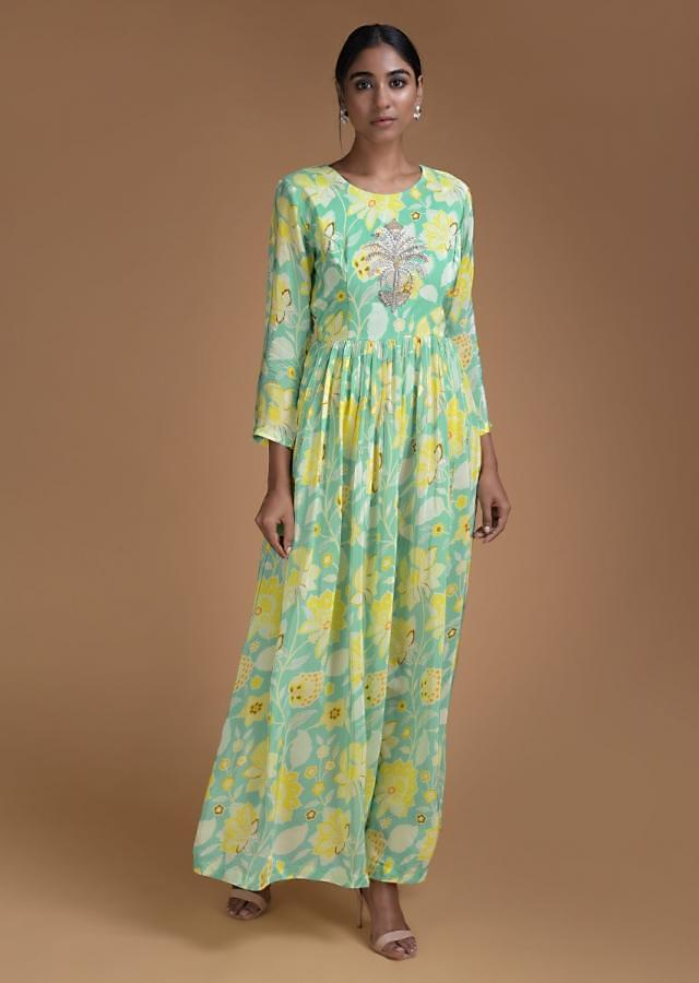 Turq Tunic Dress In Crepe With Floral Print And Embroidered Floral Motif Online - Kalki Fashion
