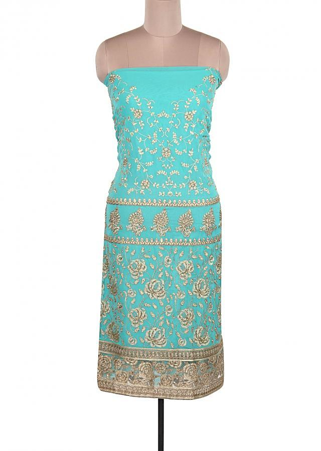 Turq Unstitched Suit Adorn In Resham And Pearl Embroidery Only On Kalki