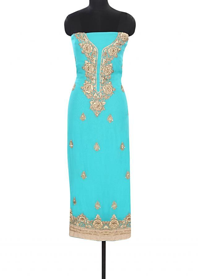Turq unstitched suit embellished in zardosi embroidery only on Kalki
