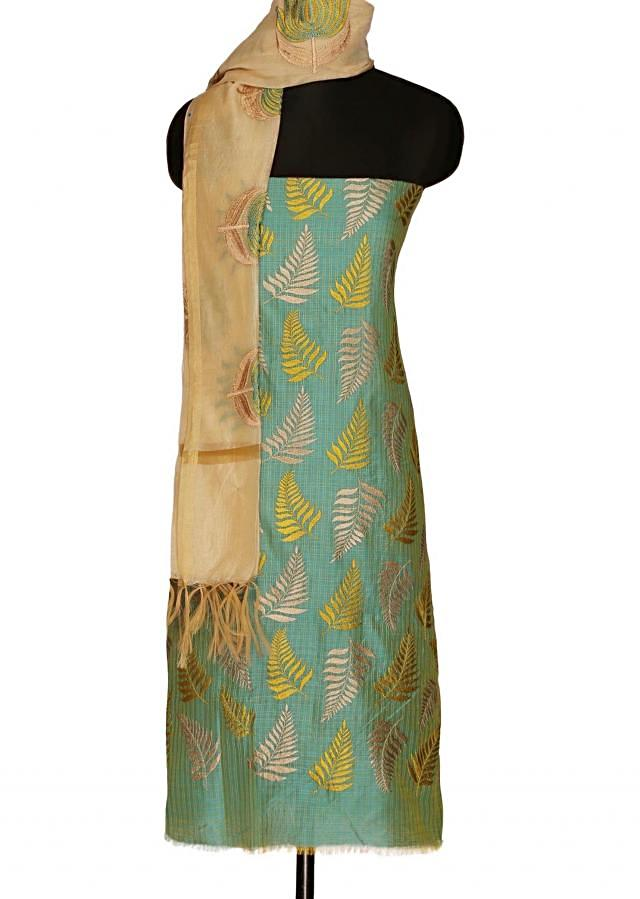 Turq unstitched suit with cream dupatta only on Kalki