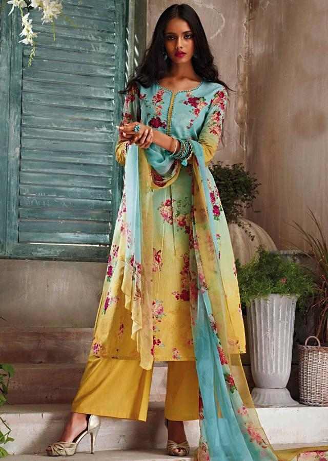 Turq and light yellow unstitched printed suit with ready neckline