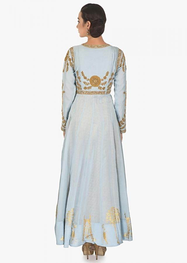 Turq blue and brown anarkali suit printed suit with embossed thread work only on Kalki