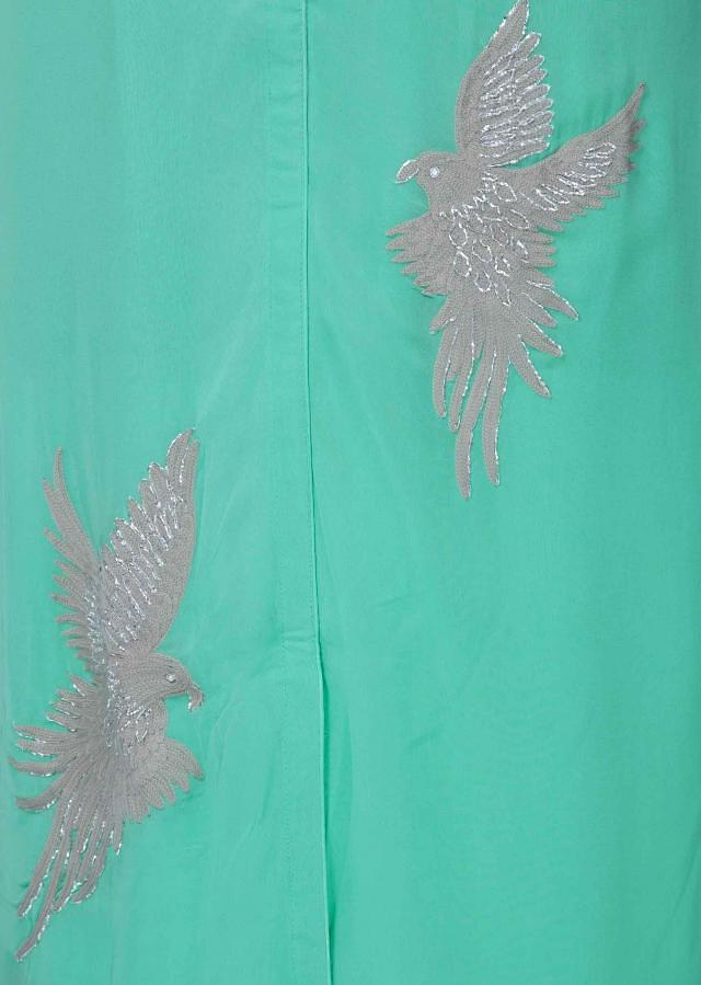Turq blue kurti in georgette with bird motif embroidery only on Kalki