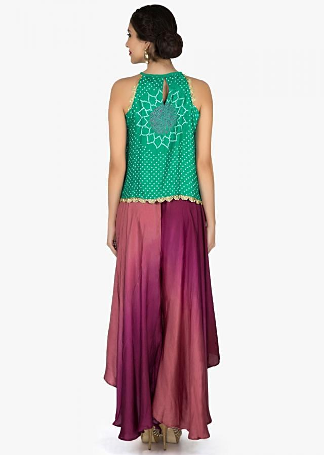 Turq green bandhani top with burgundy fancy palazzo pant only on Kalki