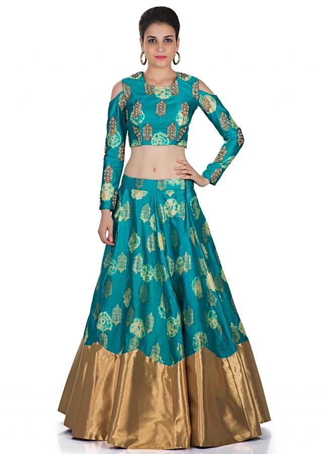 Turquoise Silk Top and Skirt with Cream Organza Dupatta Crafted with Moti and Zardosi Work only on Kalki
