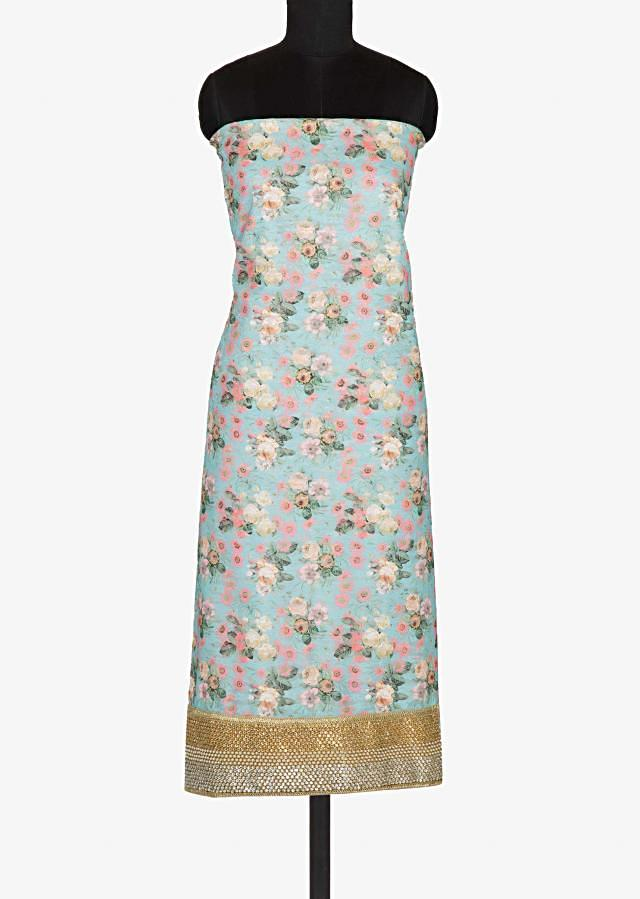 Turquoise unstitched suit in floral print with net dupatta only on Kalki