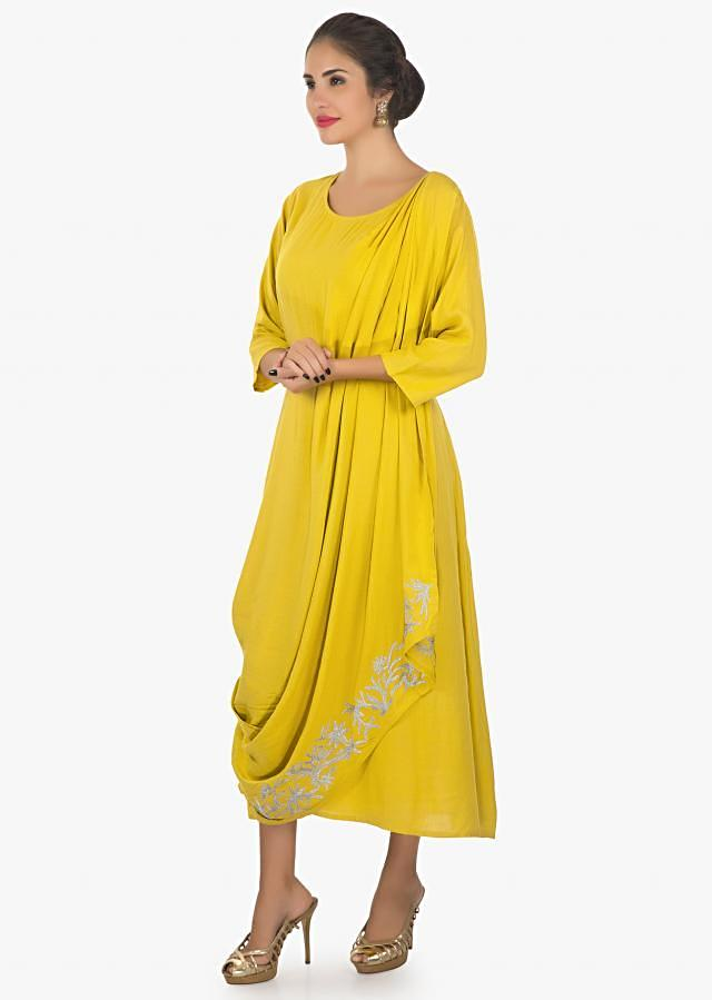 Tusan yellow kurti with over lapping layers with zari work only on kalki