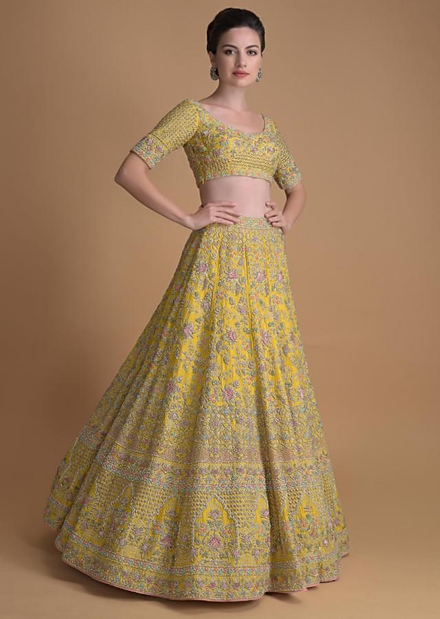 Mellow Yellow Lehenga Choli With Hand Embroidered Floral Jaal And Moroccan Pattern Online - Kalki Fashion