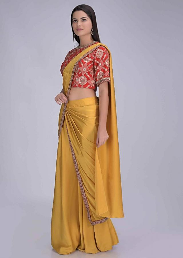 Tuscan Sun Yellow Ready Pleated Saree In Satin With Red Chiffon Brocade Blouse Online - Kalki Fashion