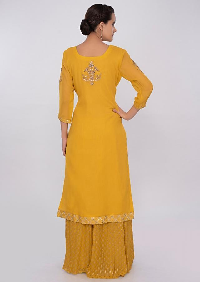Tuscan yellow palazzo suit set with embroidery only on kalki