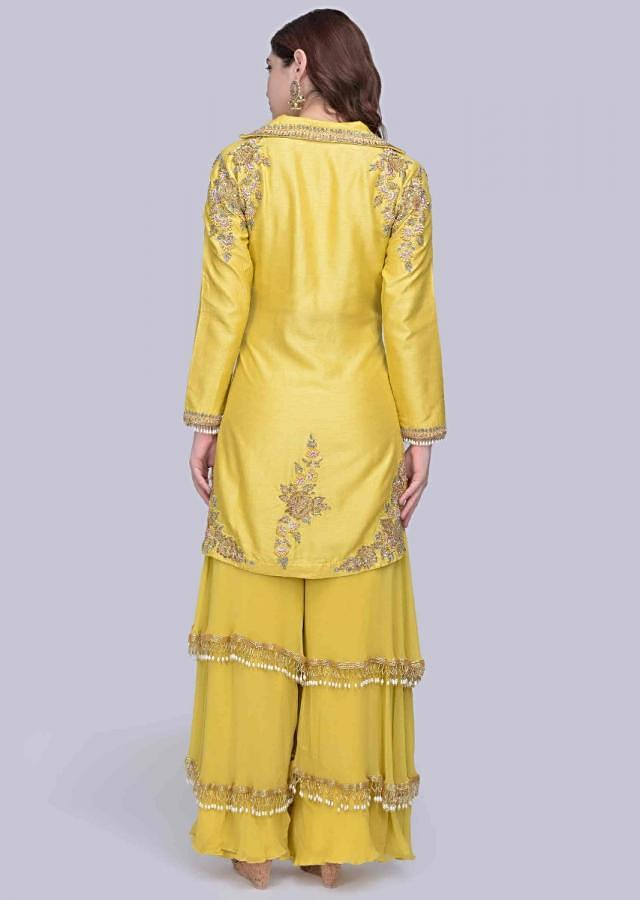 Tuscan Yellow Jacket Suit In Raw Silk With Fancy Layered Palazzo Online - Kalki Fashion