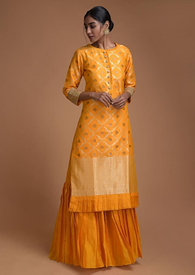 Tuscan Yellow Sharara Suit With Pleated Frill And Weaved Checks And Buttis  Online - Kalki Fashion
