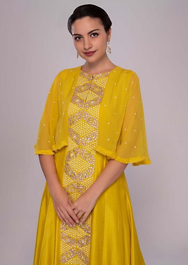 Tuscan Yellow Suit With Additional Chiffon Layer Paired With Cream Palazzo Online - Kalki Fashion