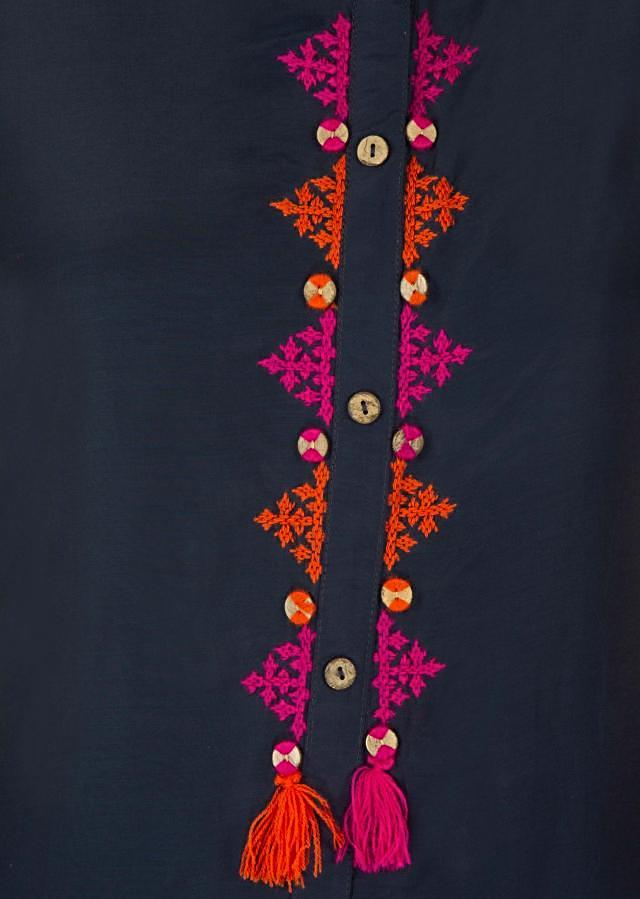 Twilight blue kurti in georgette with embroidered placket in thread only on Kalki