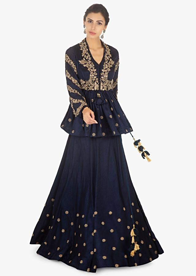 Twilight Blue Skirt In Raw Silk Paired With Embellished Peplum Top Online - Kalki Fashion