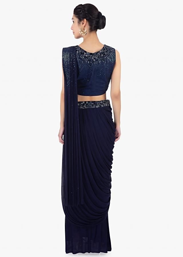 Twilight Blue Ready Plated Saree Skirt In Lycra Paired With Matching Raw Silk Blouse Online - Kalki Fashion