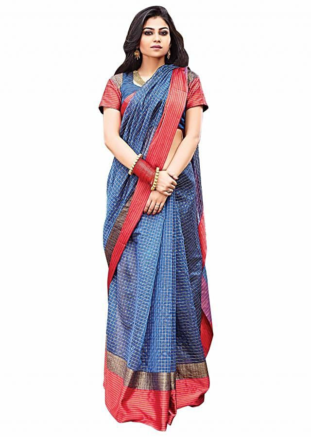 Twilight blue saree in gold checks with contrast weaved border