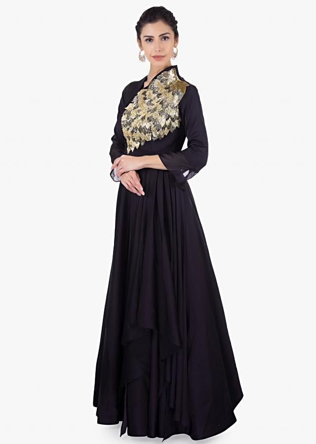 Twilight blue taffeta gown with over lapping bodice only on Kalki