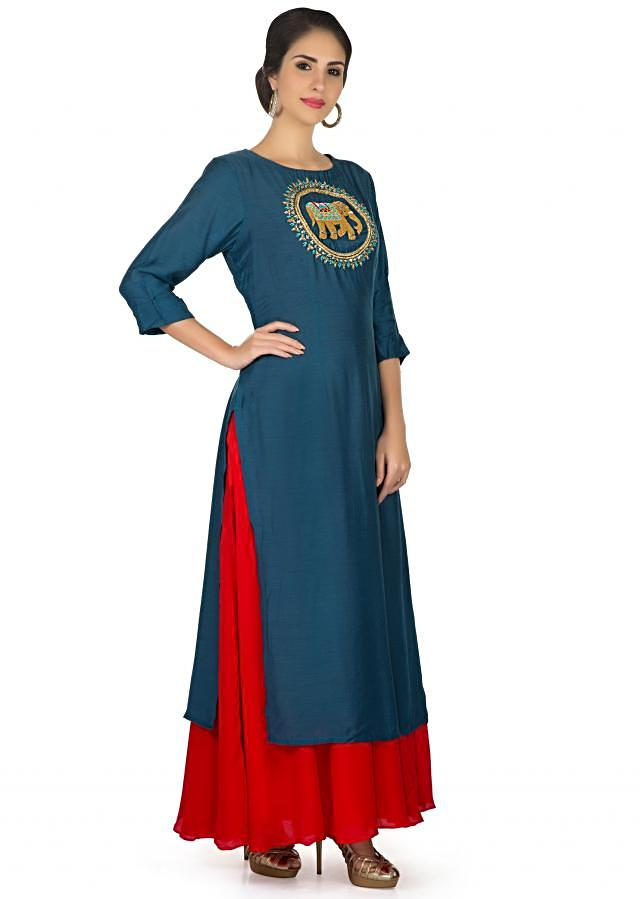 Twilight blue and red cotton kurti embellished in french knot in elephant motif only on Kalki