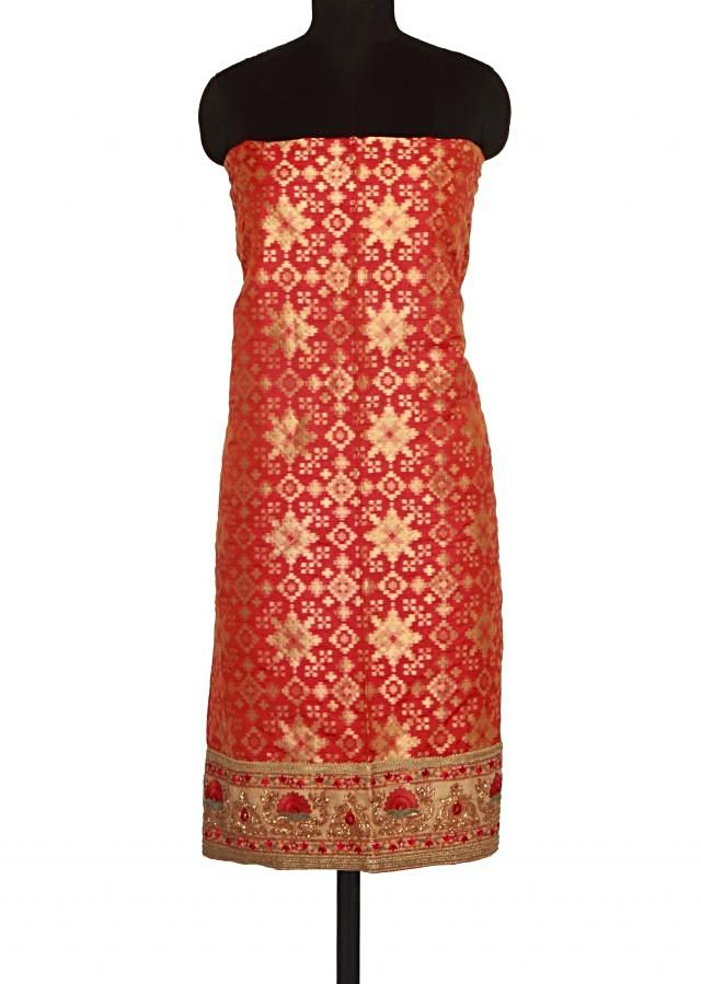 Two tone unstitched suit in brocade with resham only on Kalki