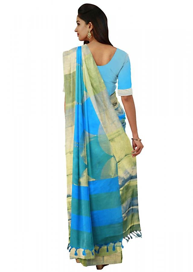 Cerulean Blue Banarasi Saree In Two Toned Silk With Matching Unstitched Blouse Piece Online - Kalki Fashion