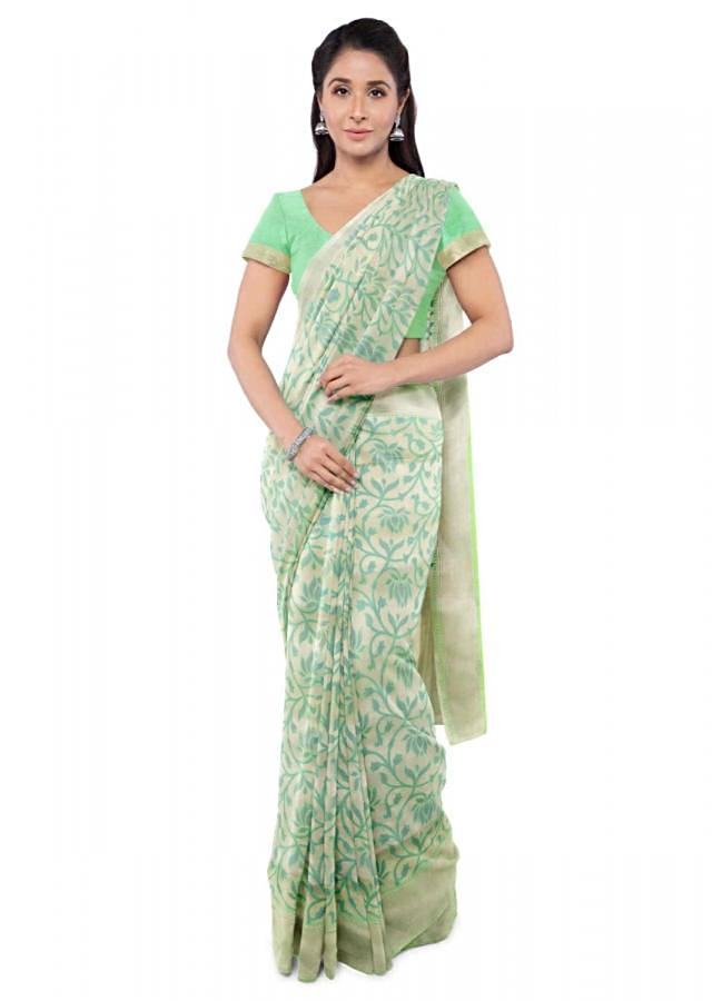 Paris Green Banarasi Saree In Two Toned Silk With Matching Blouse Piece Online - Kalki Fashion