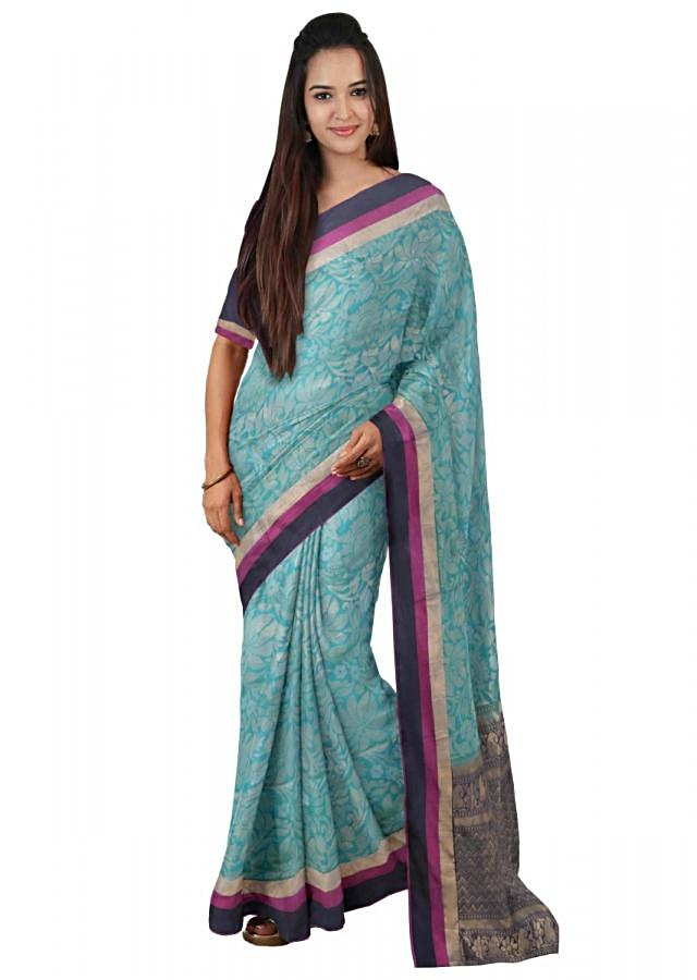 Teal Banarasi Saree In Two Toned Silk With Weaved Floral Pattern Online - Kalki Fashion