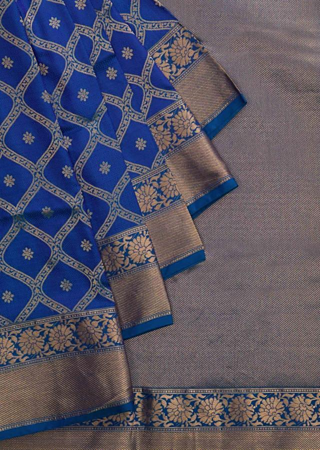 Two-toned blue saree in silk beautified in weaved embroidery only on Kalki