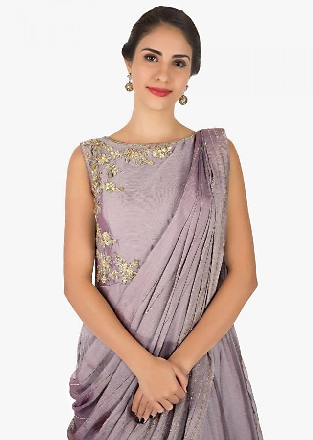 Two-toned grey gown in chiffon enhanced in zardosi and kundan embroidery work only on Kalki