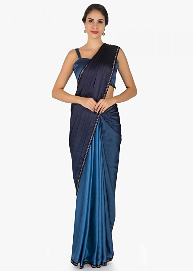 Two toned blue saree in satin with unstitched blouse crafted in kundan embroidery work only on Kalki