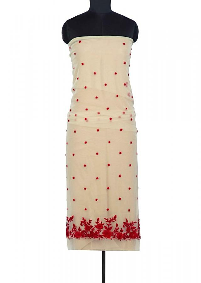 Beige Unstitched Suit In Net With Contrasting Red Embroidered Butti And Border Online - Kalki Fashion